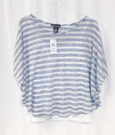 INC International Concepts Butterfly-Sleeve Striped Top Blue White M NWT