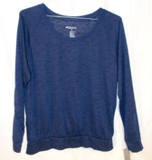 Ideology Raglan-Sleeve Heathered Top Navy M NWT