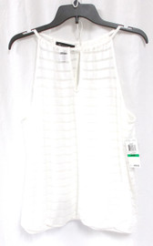 INC International Concepts Womens Keyhole Illusion Knit Stripe Blouse White L NWT