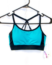 Jessica Simpson The Warm Up Juniors' Colorblocked Spaghetti-Strap Active Bra XS NWT