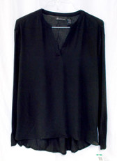 INC International Concepts Deep Black Womens Hi-low Split Neckline Blouse L NWT