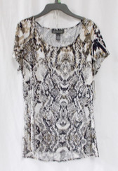 INC International Concepts Women's Snakeskin Printed Stretch Blouse Black White Tan M NWT