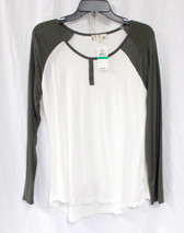 Hippie Rose Juniors' Raglan Sleeve Top Ivory Grey Heather L NWT