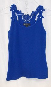 INC International Concepts Petite Crochet-Strap Embellished Tank Top Blue PL NWT