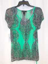INC International Concepts Women's Green Black 2pc Cap Sleeve Pullover Top Blouse S NWT