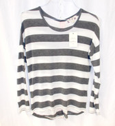 Hippie Rose Juniors' Striped Back-Zipper High-Low Top S NWT
