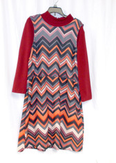 ECI New York Womens Layered Look Chevron Casual Dress Red Multi S NWT