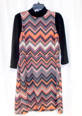 ECI New York Womens Layered Look Chevron Casual Dress Black Multi L NWT