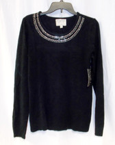 Debbie Morgan Womens Black Embellished Pullover Sweater Top M NWT
