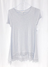Freshman Forever Junior Lace-Hem Pullover T-Shirt Gray XL NWT