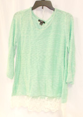Style & Co. Womens Lace Hem Marbled Pullover Sweater Green L NWT
