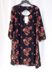 ECI Womens Embroidered Shift Dress Black Multi XS NWT