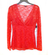 Guess Red Stretch Lace Women's Knit Top Cami Set M NWT