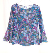 ECI Women's Bell-Sleeves Paisley Keyhole Top S NWT