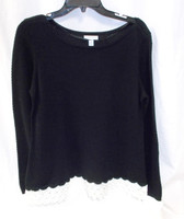 Charter Club Womens Lace-trim Textured Sweater Deep Black L NWT