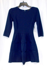 City Studio Navy Juniors Textured Flare Faux-Tiered Dress Blue 1 NWT