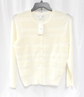 Charter Club Womens Striped Cardigan Vanilla Bean L NWT