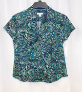 Charter Club Petite Womens Paisley Button Up Blouse Top Shor t Sleeve Multi 10P NWT