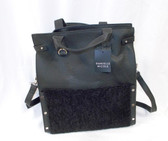Danielle Nicole Minx Tote Black Combo Faux Shearling Large Tote 14 x 13 inches NWT