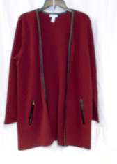 Charter Club Open Front Faux-Leather Trim Cardigan Cranberry Red L NWT