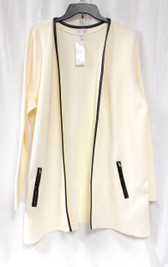 Charter Club Open Front Faux-Leather Trim Cardigan Vanilla Bean XL NWT