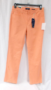 Charter Club Womens Tummy Slimming Twill Straight Leg Jeans Mango Orange 10  NWT