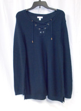 Charter Club Womens Blue Split Neck Lace Up Sweater Navy XL NWT