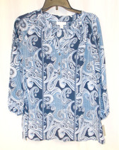 Charter Club Paisley Split-Neck Peasant Top XS NWT