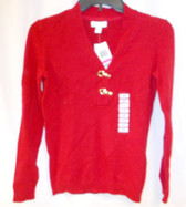 Charter Club Petite Long-Sleeve V-Neck Pullover Women's Sweater Red Clasp NWT