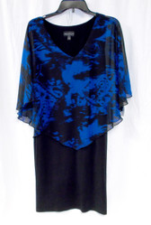 Connected Apparel Womens Caped Royal Black Sheath Dress  6 NWT