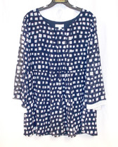 Charter Club Navy White Womens Printed Blouse L NWT