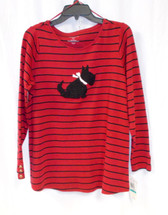 Charter Club Womens Plus Long Sleeve Striped Scottie Dog Top Red Black 0X/12W NWT