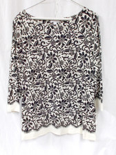 Charter Club Black Ivory Lace-Printed Top XL NWT