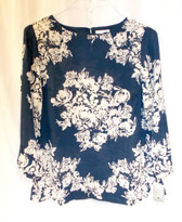 Charter Club Bi-Color Floral Top Navy Cream S NWT