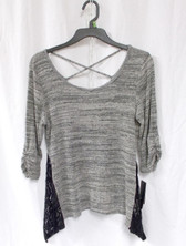 BCX Gray Juniors' Criss-cross-back Lace-trim Knit Top L NWT