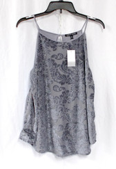 Cable & Gauge Womens Faux Velvet Floral Pattern Sleeveless Top Gray M NWT