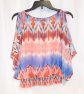 BCX Juniors' Printed Slit-Sleeve Smocked-Waist Top Coral Multi XS NWT