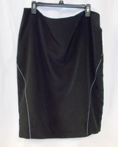 Calvin Klein Womens Black Pencil Skirt White Stitched Lines 16  NWT