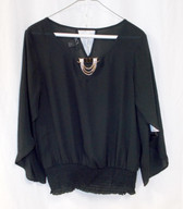 BCX Women's Black Embellished Tulip-Sleeve Bubble Top S NWT