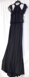 Betsy & Adam Womens Ruffled Cold Shoulder Ball Gown Dress Prom Wedding Bridesmaid Black 10 NWT