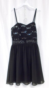 BCX Juniors Sequined Lace Fit & Flare Dress Black 7 NWT