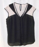 Cable & Gauge Sleeveless Blouse Mesh V-Neck Black Tan XL NWT