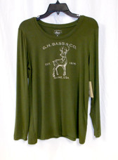 G.H. Bass & Co Womens Deer Graphic Top Green M NWT
