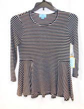 CECE Womens Black White Confetti Pop Striped Top S NWT