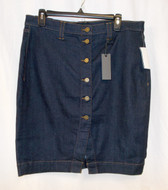 Buffalo David Bitton Womens Knee Length High Waist Denim Skirt Navy 31 NWT