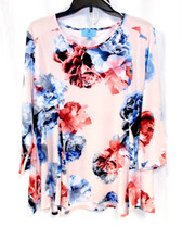 CeCe Womens 3/4 Sleeve Floral Print Top XL NWT
