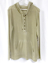 G.H. Bass & Co Womens Faded Waffle Hooded Top Dusty Taupe M NWT