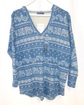 American Living Blue Womens Paisley Print Hooded Sweater Shirt M NWT