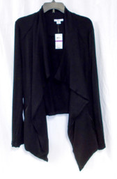 Bar III Zipper-Detail Waterfall Cardigan Black XXL NWT