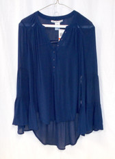 American Rag Womens High-Low Bell-Sleeve Peasant Top Navy XS NWT